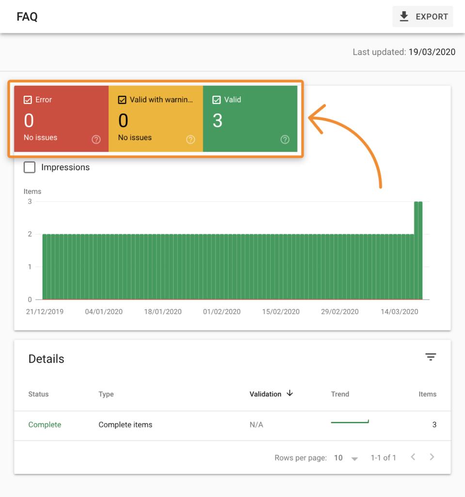المقتطفات المنسقة تقرير وحدة تحكم بحث Google